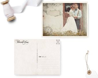 "Photo Wedding Thank You Cards / 4.25 x 5.5  / Wedding Thank you / the ""Abbey 2"""