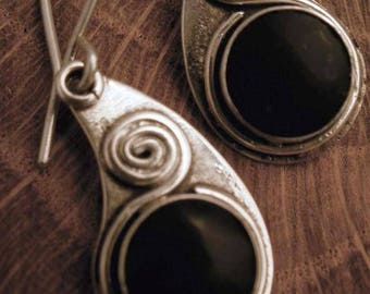 obsidian silver earings