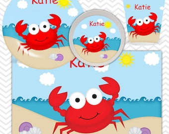 Crab Plate, Bowl, Cup, Placemat - Personalized Crab Dinnerware for Kids - Custom Tableware