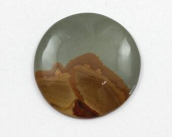 Picture Jasper Cabochon 32mm Round Owyhee Oregon Cripple Creek Jasper L9 Vintage Hand Cut Agate