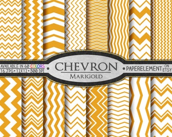 Marigold Orange Chevron Digital Paper Pack - Instant Download - Digital Scrapbook Paper with Chevron Backdrop