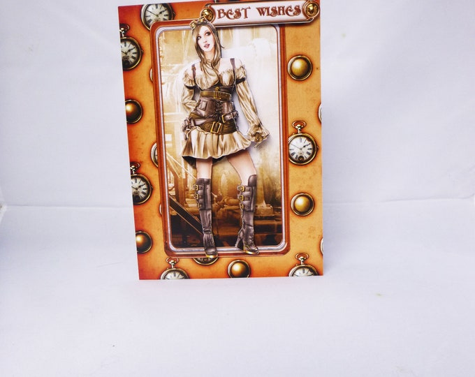 Steampunk Card, Best Wishes Card, Special Card, Special Birthday Card, Vintage Card, 3D Decoupage Card, Female Birthday Card,