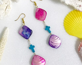 Ocean Earrings, Beach Earrings, Beads, Mother-of-Pearl, Seashell, Pink, Purple