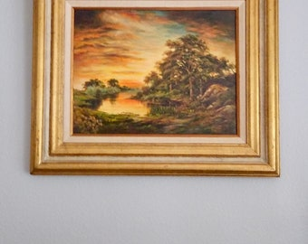 Vintage Oil On Canvas Landscape Sunset Painting, Signed B. Brown