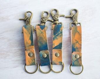 Leder Schlüsselhalter, Schlüsselanhänger, EDC, Gürtel-Schlüsselanhänger, Tie-Dye-Leder, Unisex Geschenke