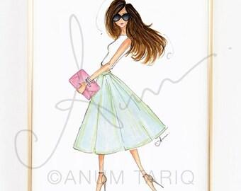 "Fashion Illustration Print, Spring Sorbet, 8x10"""
