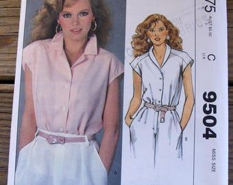 Vintage 1980s McCalls Pattern 9504, Misses Size medium (14-16), uncut, 1980s fashion, shirt, UNCUT, Cheryl Ladd design