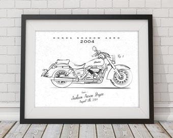 Custom Vehicle Patent Style Sketch Drawing - Motorcycle or Car Illustration - Gift Idea for Men or Man Room - Holiday or Paper Anniversary