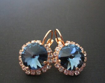 Rose Gold Bridesmaid Earrings/Montana Halo Earrings/Blue Crystal Bridesmaid Earrings/Rose Gold Bridesmaid Jewelry/Rose Gold and Blue Crystal