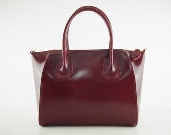 """Large leather handbag, """"Scarlet"""", darkred, leather bag, leather tote, top handle bag, shoulder bag, leather, handmade, leather sling bag,"""