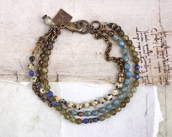 Green labradorite bracelet Dalmatian jasper bracelet Blue bracelet with stones Multistrand gemstone bracelet Czech glass bracelet with clasp