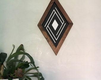 Boho Wood Sign Aztec C diamond black