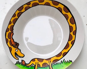 Giraffe Bowl - Hand Painted - Pasta Bowl - Zoo - Madagascar - Giraffe Illustration - Nature