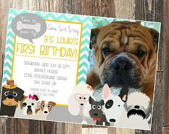 Dog birthday invitation - Pet birthday invite - DIY Printable File