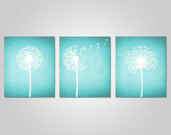 Exceptional Dandelion Wall Art   Home Wall Art   Bedroom Dandelion Art   Aqua Turquoise Teal  Wall Art   Instant Download   DIY Printable Wall Art