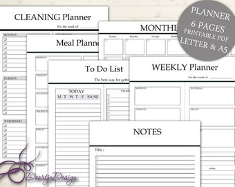 Digital Planner Pages, Monthly Planner, Notes, To Do List, Weekly planner, INSTANT DOWNLOAD, Cleaning, Meal Planner, Organizer, LETTER & A5