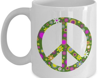 Peace sign coffee mug - Retro peace sign with flowers - Peace and love