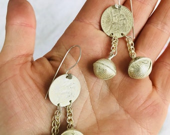 Hmong Tribal Earrings. Tiny Bells. Old Casting Molds. Northern Vietnam.