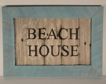 Rustic Beach House Framed Sign Made From Reclaimed Wood