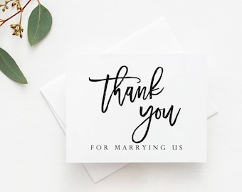 Thank You For Marrying Us Card. Officiant Card. Minister Card. Pastor Card. Officiant Wedding Card. Minister Wedding Card. Wedding Cards.