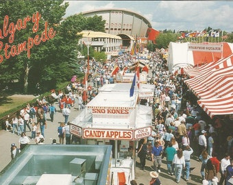 Vintage 1980s Postcard Calgary Stampede Alberta Canada Scenic Midway Carnival Rides Rodeo Olympic Saddledome Photochrome Postally Unused