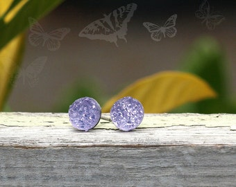 Lavender Faux Druzy Earrings, 8mm Glitter Studs, Light Purple, Titanium Post, Stainless Steel Post, or Sterling Silver Posts
