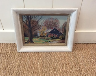 Vintage 1950s Framed Landscape Oil Painting