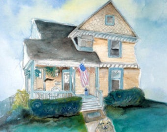"""Sample whimsical custom house portraits 11x 14"""" watercolor on paper"""