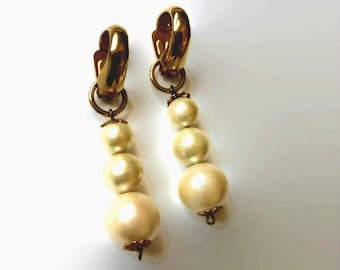 Interchangeable Clip on, Gold and  Pearl Clip On,Non Pierced Hoop Earrings, Interchangeable Pearl Clip On Earring