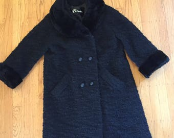 Black faux fur lined boucle coat 60s