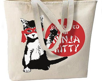 Protected By Ninja Kitty Cat New Large Canvas Tote Bag, Travel, All Purpose