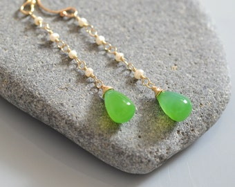 Green Onyx Earrings - 14k Gold Filled, Freshwater Pearl - Wire Wrapped Dangles - smooth drop - White Tiny Pearls - Bridal