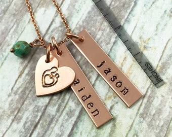 Copper Hand Stamped Mother Necklace, Personalized Mom Necklace, New Mom Gift, Children Names Necklace, Family Necklace, Mothers Day Gift