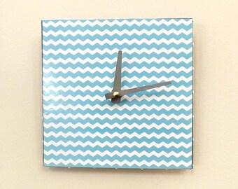 Turquoise Chevron Clock, Wall Clock, Handmade Clock,