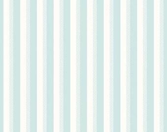 Aqua Blue and White Stripe Fabric - Riley Blake Wiltshire Stripe Fabric - Aqua and White Fabric