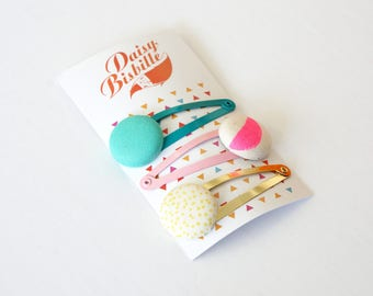 Colorful set made from repurposed fabrics. Colorful hairclips, handmade from recycled fabrics.