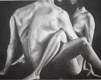 Romantic Drawing of Couple in Love