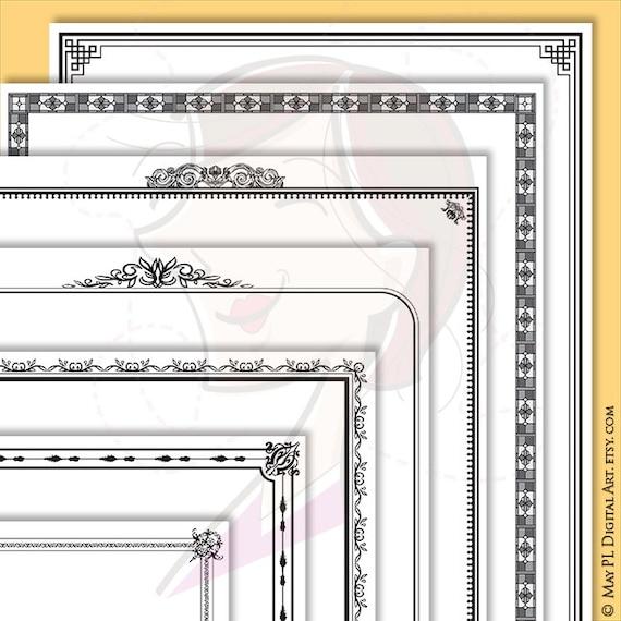 Page Border Frames Retro Frames Clipart 8.5 x 11 for DIY