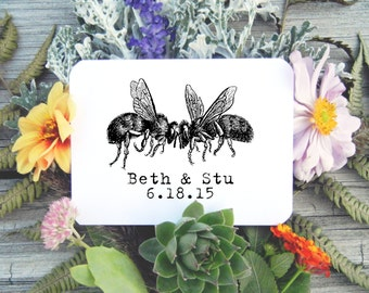 Wedding Save the Date Rubber Stamp // Personalized Two Bees Rubber Stamp // Handmade by Blossom Stamps