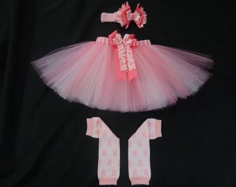 Breast Cancer Awareness inspired tutu set custom made your choice of size up to a 4t