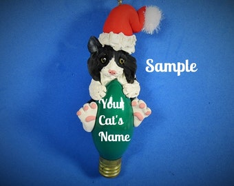 black and white long haired Santa Cat Christmas Holidays Light Bulb Ornament Sally's Bits of Clay PERSONALIZED FREE with cat's name