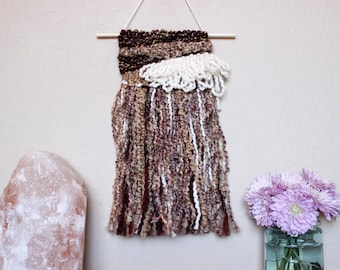 Brown Textural Wall Hanging - Fringe Wall Hanging - Neutral Colors Woven Wall Art - Fun and Fabulous Bohemian Art - College Dorm Room Decor