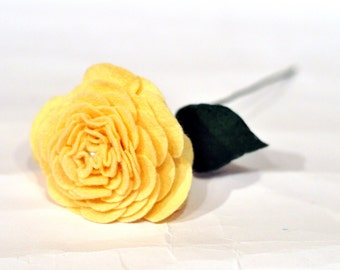 Yellow Felt Rose / Valentine's Rose / Everlasting Rose/ Friendship gift /Yellow bridal flower / unique wedding flowers / Bridesmaid bouquet