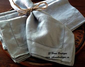 Stonewashed Linen Napkins Set of 4 Dinner napkins. Size 45.5 x 45.5 cm (18 x 18 in).  100% Linen