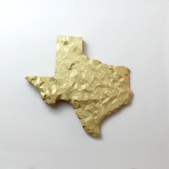3D Printed Faceted Texas Topography Wall Art...Metallic wall