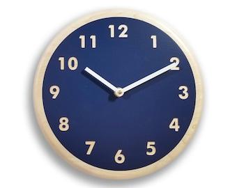 Navy blue wall clock. Modern wall clock. Kitchen wall clock. Simple wall clock. Wood wall clock. 10 inch wall clock. CL5021
