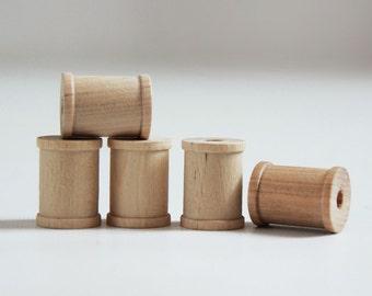 50 Natural Wooden Spools 1 x 3/4