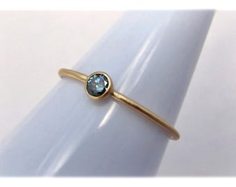 Blue Diamond 14k Gold Stack Ring
