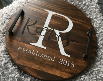 Personalized serving tray, wood serving tray, serving tray, personalized tray, decorative serving tray, personalized wood tray, rustic tray