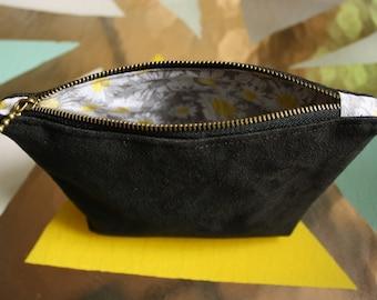 Black Suede Makeup Bag, Zipper Pouch